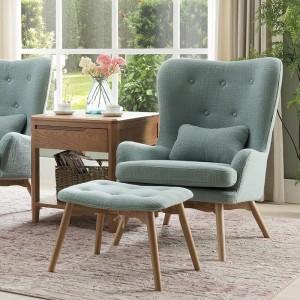 K062北欧自然休闲沙发椅浅蓝色