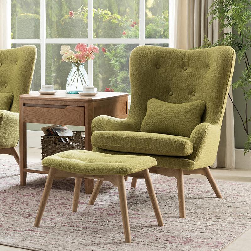 K062北欧自然休闲沙发椅绿色