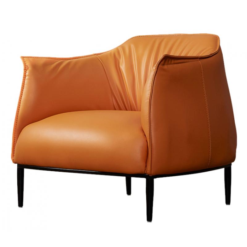 2516小沙发静欧现代仿皮沙发橙色