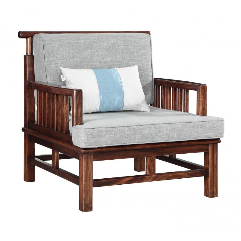 GS-H1616-1新中式乌金木单人沙发