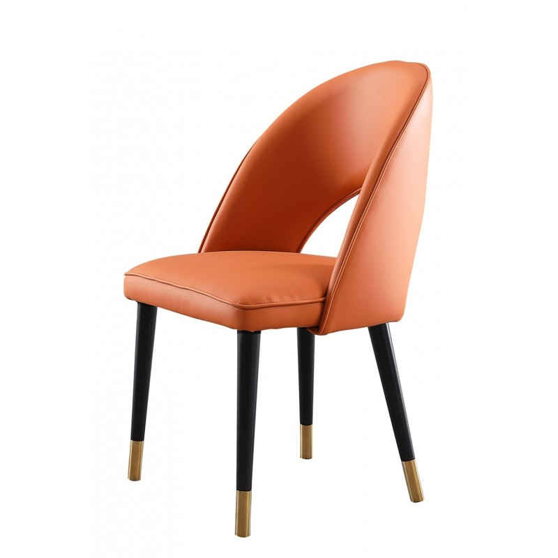 JA302约瑟轻奢餐椅超纤 橙色